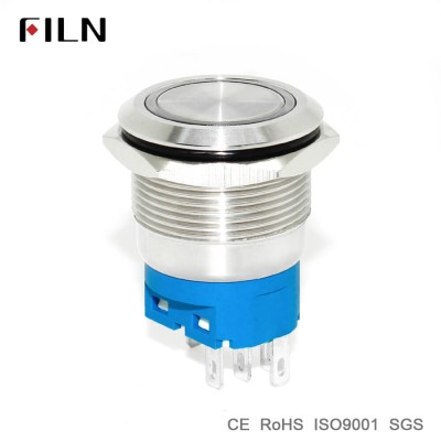 22mm 12v Red Green Blue White Orange Led Illuminated Metal Push Button Switch