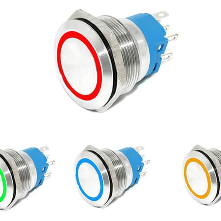 22mm 12v Red Green Blue White Orange Led Illuminated Metal Push Button Switch