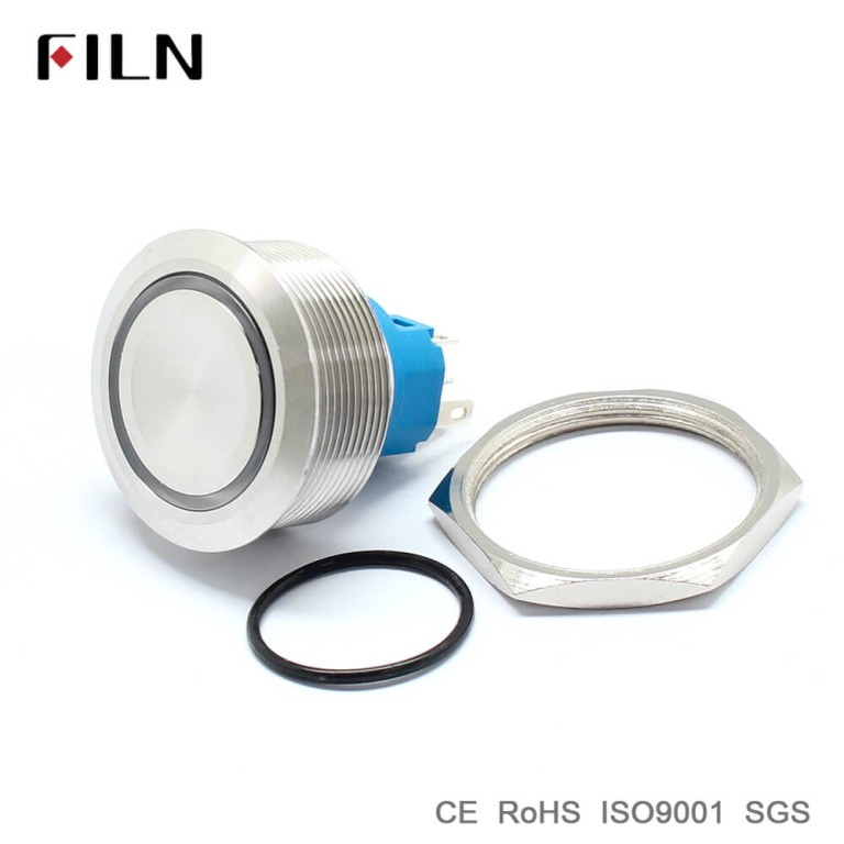 30mm 1.18inch Ring Led Illuminated Flat Head Metal Push Button Switch