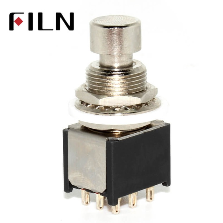 9 Soldering Pins Small Stomp On Foot Pedal Guitar 3PDT Latching Switch Guitar Accessories Guitar Push Button Footswitch