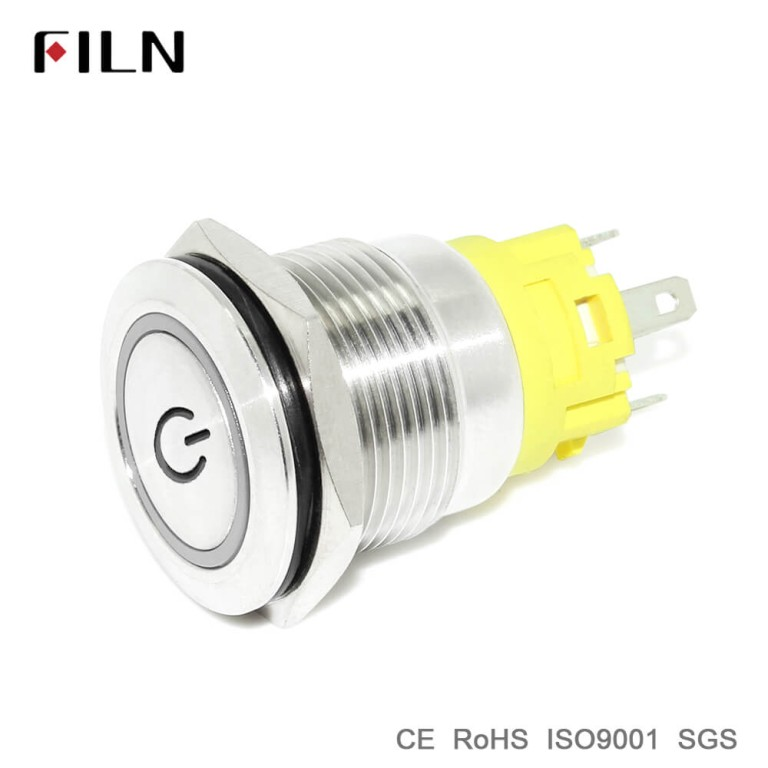 19mm Flat Head Stainless Steel Push Button Switch With 12v Red Green Led Illuminated  With Power Symbol Illuminated