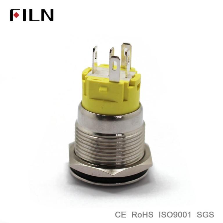 16mm 0.63inch Ring Led Illuminated Flat Head Metal Push Button Switch 12v 24v 110v 220v