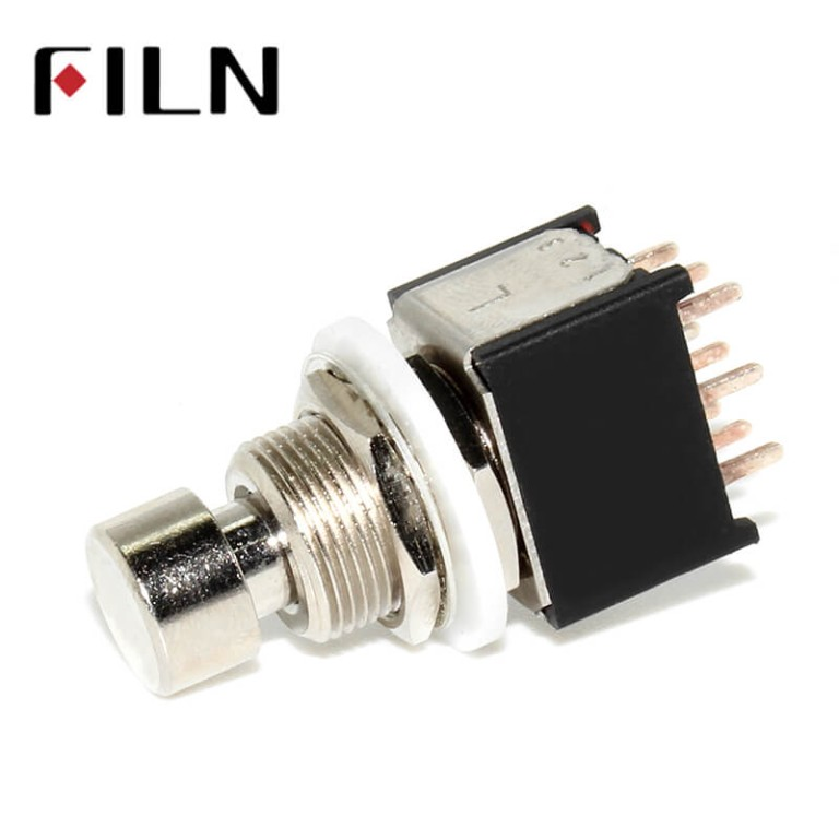 9 Pins Small Stomp On Foot Pedal Guitar 3PDT Latching Switch Guitar Accessories Guitar Push Button Footswitch