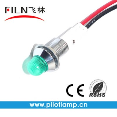 10MM 0.39inch 12V metal indicator light with wire(FL1M-10BW-1)