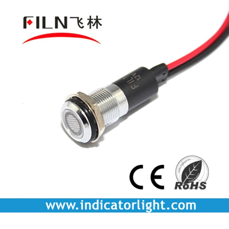 12mm 0.47inch 12V metal indicator light with wire(FL1M-12FW-1)