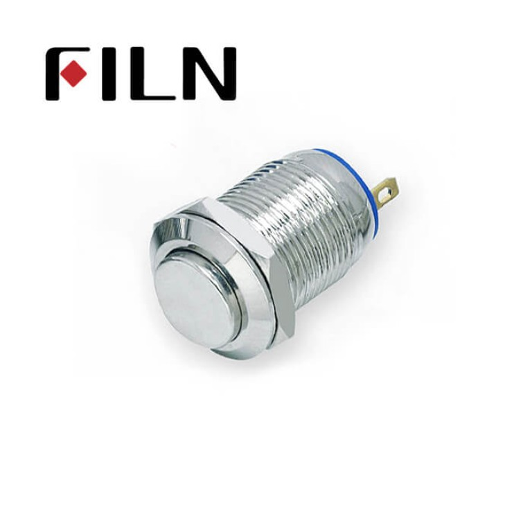 12mm 0.47inch Outline & installation size Metal Push Button (FLM12□□-HJ-T-2P)