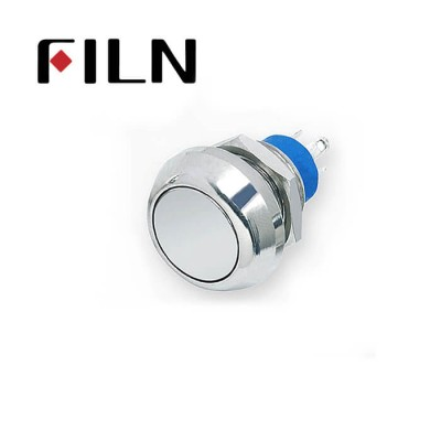 12mm 0.47inch stainless steel flat button no lamp momentary 1no1nc 4 solder pins Metal Push Button (FLM12□□-FJ-11-4P)