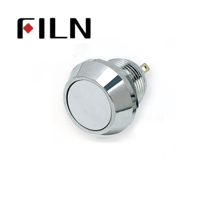 12mm 0.47inch stainless steel flat button no lamp momentary 1no 2 solder pins Metal Push Button (FLM12□□-FJ-2P)
