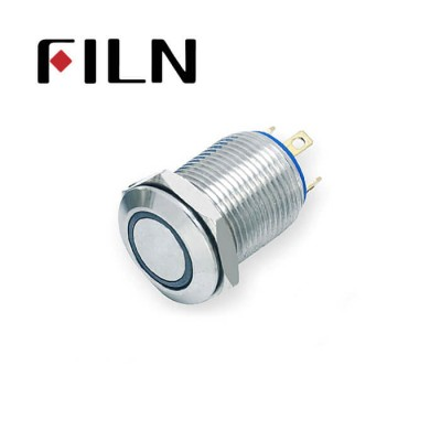 12mm 0.47inch stainless steel short length flat button ring lamp momentary 1no 4 solder pins Metal Push Button (FLM12□□-FJ-E-T-4P)