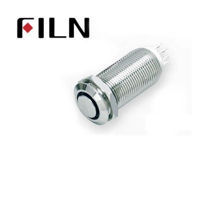 12mm 0.47inch long length nickel plated brass high flat ring led latching 1no1nc Metal Push Button without wire (FLM12□□-FJ-E-11Z-L-4P)