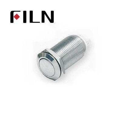 12mm 0.47inch stainless steel long length flat button no lamp latching 1no 2 solder pins Metal Push Button (FLM12□□-FJ-L-2P)