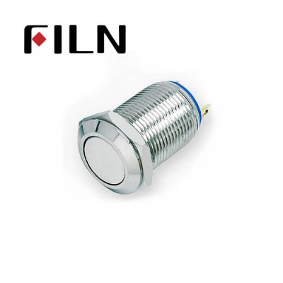 12mm 0.47inch stainless steel short length flat button no lamp momentary 1no 2 solder pins Metal Push Button (FLM12□□-FJ-T-2P)