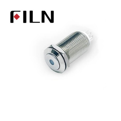 12mm 0.47inch stainless steel short length flat button dot lamp momentary 1no 4 solder pins Metal Push Button (FLM12□□-J-D-11Z-L-4P)