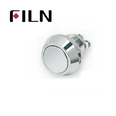 12mm 0.47inch stainless steel flat button no lamp momentary 1no 2 screw pins Metal Push Button (FLM12□□-F10-2P)