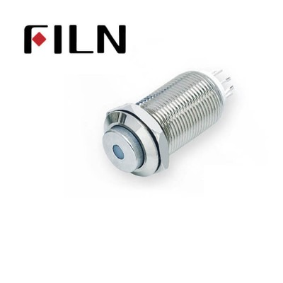 12mm 0.47inch stainless steel long length high flat button dot lamp latching 1no 4 solder pins Metal Push Button (FLM12□□-HJ-D-11Z-L-4P)