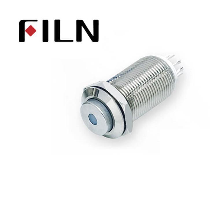 12mm 0.47inch stainless steel long length high flat button dot lamp latching 1no 4 solder pins Metal Push Button (FLM12□□-HJ-D-11Z-L-4P)