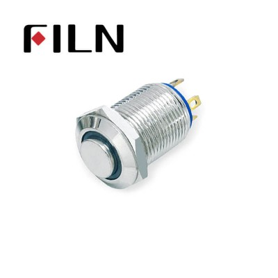 12mm 0.47inch stainless steel short length high flat button dot lamp momentary 1no 4 solder pins Metal Push Button (FLM12□□-HJ-D-T-4P)