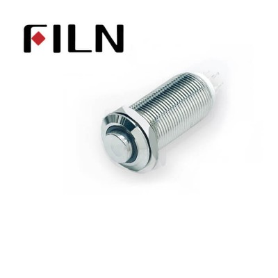 12mm 0.47inch stainless steel short length flat button dot lamp momentary 1no 4 solder pins Metal Push Button (FLM12□□-HJ-E-11Z-L-4P)