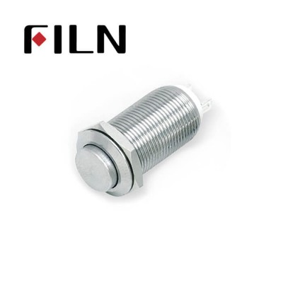 12mm 0.47inch stainless steel long length high flat button no lamp latching 1no 2 solder pins Metal Push Button (FLM12□□-HJ-L-2P)