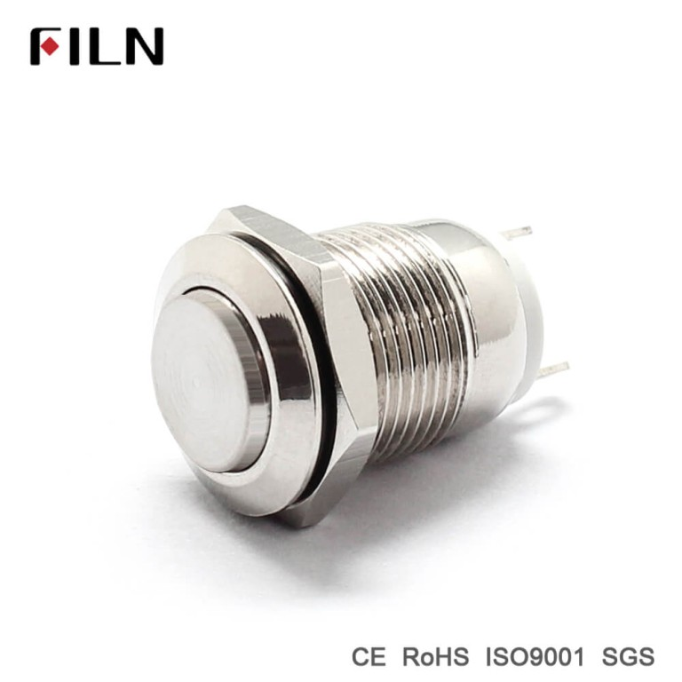 Metal pushbutton switch with 12v red led lamp