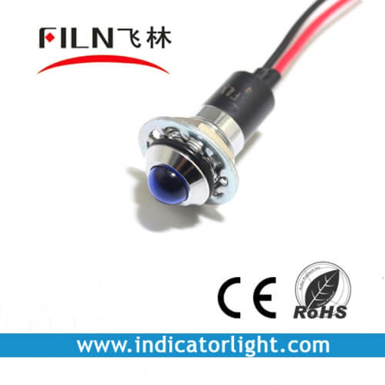 14mm 0.55inch 12V metal indicator light with wire(FL1M-14SW-1)