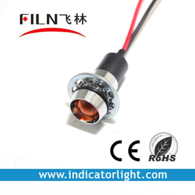 14mm 0.55inch 12V  metal indicator light with wire(FL1M-14CW-1)