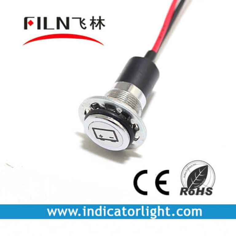 14mm 0.55inch 12V metal indicator light with wire(FL1M-14FW-2)