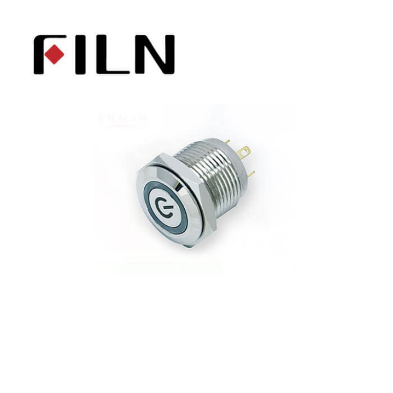 16mm 0.63inch Stainless steel flat  1NO Customize  with light momentary short 4 solder pins Metal Push Button (FLM16□□-FJ-C-T-4P)