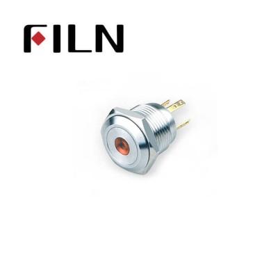16mm 0.63inch Stainless steel flat 1NO dot light momentary short 4 solder pins Metal Push Button (FLM16□□-FJ-D-T-4P)