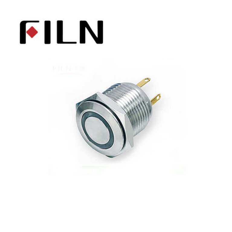 16mm 0.63inch Stainless steel flat  1NO ring light momentary short 4 solder pins Metal Push Button (FLM16□□-FJ-E-T-4P)