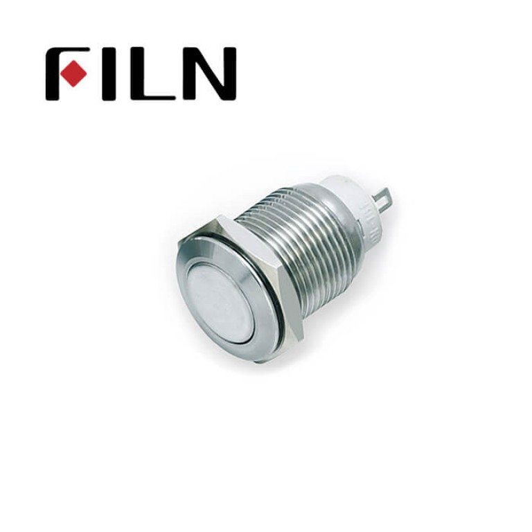 16mm 0.63inch Stainless steel flat  1NO latching  no light 2 solder pins          Metal Push Button (FLM16□□-FJ-Z-2P)