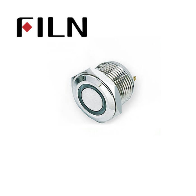 16mm 0.63inch Stainless steel indicator light 2 solder pins   Metal Push Button (FLM16□□-LED-2P)
