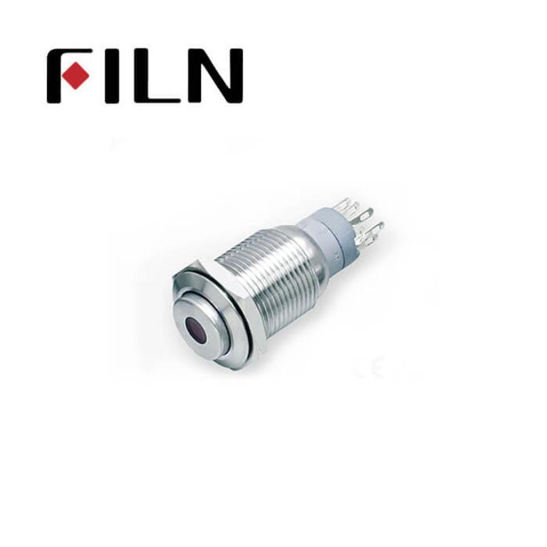 16mm 0.63inch Stainless steel high flat 1NO1NC dot light momentary 5 solder pins  Metal Push Button (FLM16□□-HJ-D-11-5P)