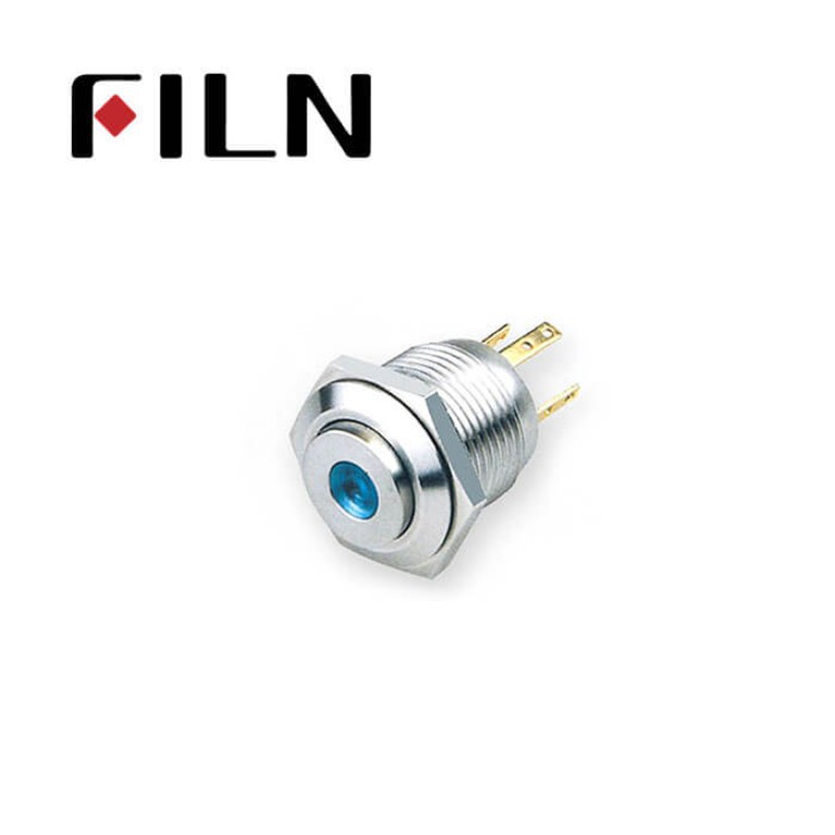 16mm 0.63inch  Stainless steel high flat 1NO dot light momentary short 4 solder pins Metal Push Button FLM16□□-HJ-D-T-4P)