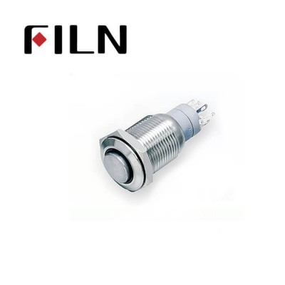 16mm 0.63inch Stainless steel high flat 1NO ring light momentary short 4 solder pins Metal Push Button (FLM16□□-HJ-E-11-5P)