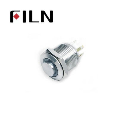 16mm 0.63inch Stainless steel high flat 1NO ring light momentary short 4 solder pins Metal Push Button (FLM16□□-HJ-E-T-4P)