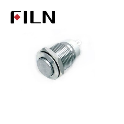 16mm 0.63inch Stainless steel high flat 1NO latching no light 2 solder pins Metal Push Button (FLM16□□-HJ-Z-2P)