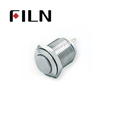 16mm 0.63inch Stainless steel high flat 1NO short no light momentary 2 solder pins Metal Push Button (FLM16□□-HJ-T-2P)