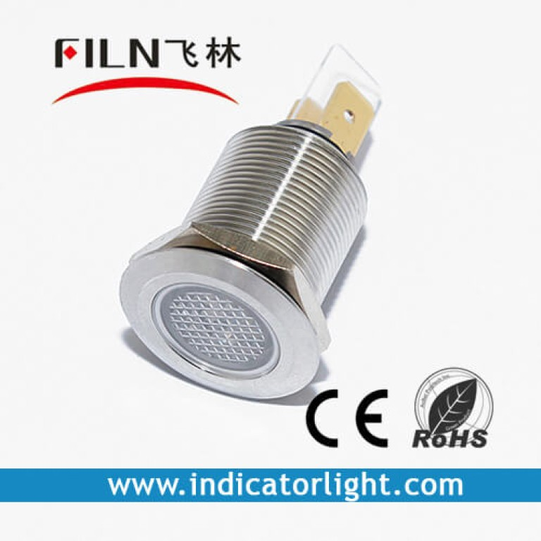 19mm 0.75inch 12V  metal Flat lndicator light without wire(FL1M-19FJ-3)