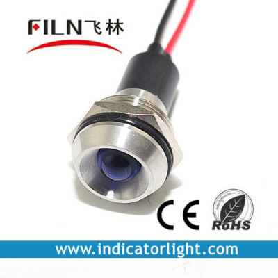 19mm 0.75inch 12V stainless steel Concave led  indicator lights  with wire(FL1M-19CW-1)