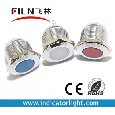 19mm 0.75inch 12V  stainless steel flat led lndicator light without wire(FL1M-19FJ-2)