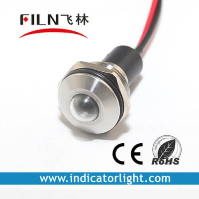 19mm 0.75inch 12V stainless steel  led lndicator light with wire(L1M-19SW-1)
