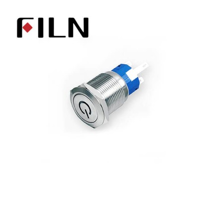 19mm 0.748inch Flat   Momentary 1NO1NC  Nickel plated brass   Led with power symbol  5 Solder Pin Metal Push Button (FLM19□□-FJ-C)