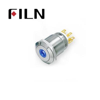19mm 0.748inch Flat   Momentary 1NO1NC  Nickel plated brass   Dot Led 6 Solder Pin Metal Push Button (FLM19□□-FJ-D)