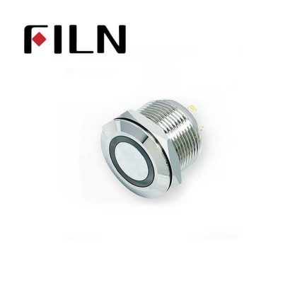 19mm 0.748inch Flat Momentary Led Ring Nickel plated brass Short type 4 Solder Pin need connect extra Resistor Metal Push Button (FLM19□□-FJ-E-T-4P)