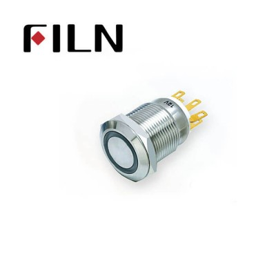 19mm 0.748inch Flat   Momentary  Led Ring 1NO1NC  Nickel plated brass  6 Solder Pin Metal Push Button (FLM19□□-FJ-E)