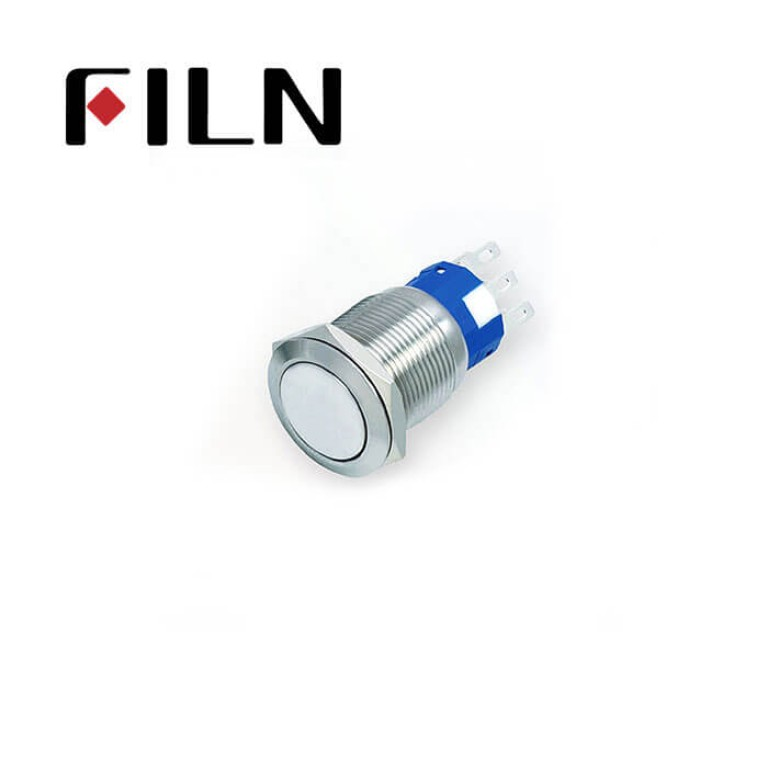 19mm 0.748inch Flat   Momentary 1NO1NC  Nickel plated brass  3 Solder Pin Metal Push Button (FLM19□□-FJ)