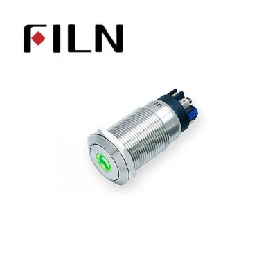 19mm 0.748inch Flat  Momentary 1NO1NC  Nickel plated brass   Led Ring 6 Screw Pin Metal Push Button (FLM19□□-FS-E-11-6P)