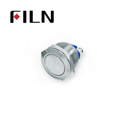 19mm 0.748inch  Short type Stainless Steel  Flat 1NO Momentary 2 Screw Pin Metal Push Button (FLM19□□-F10-T-2P)