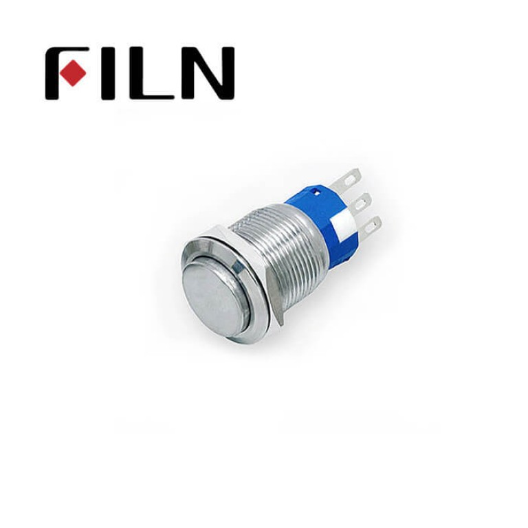 19mm 0.748inch High Flat   Momentary 1NO1NC  Nickel plated brass  3 Solder Pin Metal Push Button (FLM19□□-HJ)